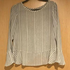 LOFT Long-Sleeved Striped Blouse